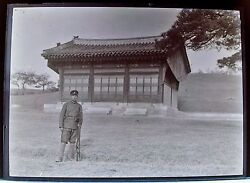 Wwii Japanese Soldier Officer In Front Shrine B/w Glass Plate Negative