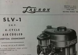 Lauson Slv-1 Vertical 4-cycle Gasoline Engine Parts Manual Lawn Mower 2 Hp 1956