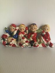 Vintage Relco Christmas Candy Cane Kids Wall Rack With Candy Cane Hooks 1950s
