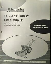 Simplicity Walk-behind Wards Tractor Reel Rotary Mower Owner And Parts 3 Manuals