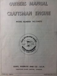 Sears Craftsman 3.5 Hp Lv35 Riding Mower 143.134012 Engine Owner And Parts Manual