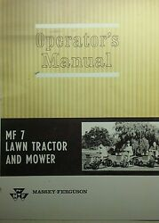 Massey Ferguson Mf 7 Lawn Tractor Owner And Pre-delivery Manual Hp
