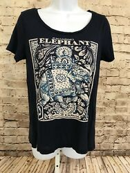 Lucky Brand Womens Sz XS Graphic Tee Chanting Elephant Good Karma