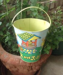Vintage Sand Pail Jack And Jill By Ohio Art-beautiful Graphics-rare Large Size