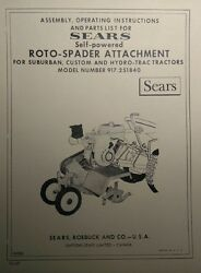 Sears Suburban 69' Tiller 3-point Garden Tractor Owner And Parts Manual 917.251840