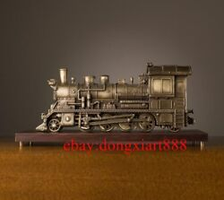 58 Cm China Art Deco Pure Brass Painted Collectible Steam Train Model Sculpture