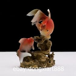 26 Cm China Brass Copper Painted Two Goldfish Fish Wealth Fengshui Animal Statue