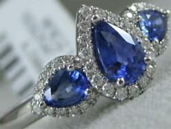 Estate Pave Diamond Sapphire 18kt White Gold 3 Pear Halo Cocktail Ring Rg9542wds
