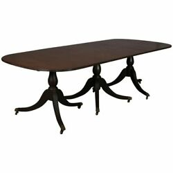 Antique Federal Triple Pedestal Mahogany Banquet Table With 2 Leaves Circa 1900