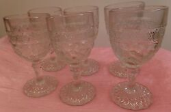 Indiana Glass Co. Patterned Bird And Strawberry 1914 Set Of 6 Cordial Glasses