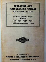 Briggs Stratton Model N Engine Owner, Maintenance, Parts And Service Repair Manual