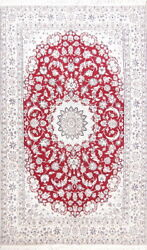 225 Knots Wool And Silk Floral Red 6x10 Nain Oriental Medallion Handmade Area Rug