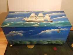 Wow Herb Hewitt Cyrus Wakefield - Original Painted Chest On Brass Casters