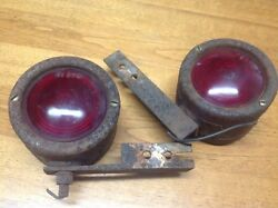 Vintage Pair Truck Bus Turn Lamps Double Red/amber Ls370 Glass Lens Sp 830