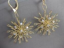 Designer Diamond 18k W Yellow Gold Hanging Abstract Flower Earrings Italy Re337