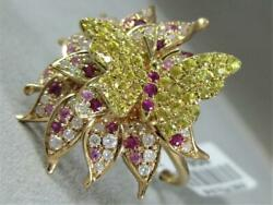 Pave Diamond Pink Yellow Sapphire 14k Gold Flower Butterfly Cocktail Ring R57542