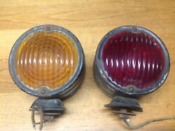 Safety Device Co. Vintage Rare Pair Truck Bus Turn Lamps Arrow Glass Amber/red