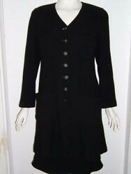 Boutique Dress Jacket And Skirt Suit Black Wool Size 42 France Awesome Look