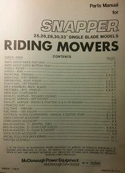 Snapper Rer 25 26 28 30 33 Rear Engine Riding Lawn Mower Tractor Parts Manual