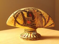Vintage Hand Painted Pottery Vase Art Decor Made In Greece 3 1/2 High.