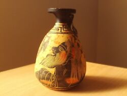 Vintage Hand Painted Pottery Urn / Vase Art Decor Made In Greece 4 1/2 High.