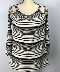 Red Haute Striped Top Cold Shoulder Women#x27;s Size Medium Black White Long Sleeved $9.99