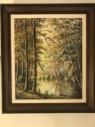 """French Artist Leon Cepel Original Signed Oil Painting 3d Trees """"burning Wood"""""""