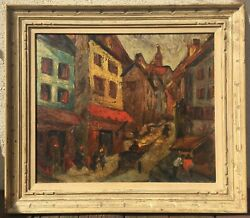 WONDERFUL, EUROPEAN VILLAGE MID-CENTURY IMPRESSIONIST OIL PAINTING STREET SCENE