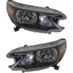 Headlight Set For 2012 2013 2014 Honda Cr-v Left And Right With Bulb 2pc