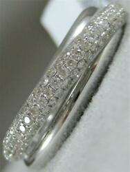 Modern Pave Diamond Right Hand Ring 18kt White Gold Crossover Band 7mm Rg9942wd