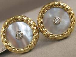 Large Diamond White Mother Of Pearl 14k Wy Gold Round Button Cufflinks U36224yp5