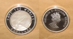 2002 Pitcairn Island Save The Whales 5 Dollars Proof Silver Coin With Shell Ra