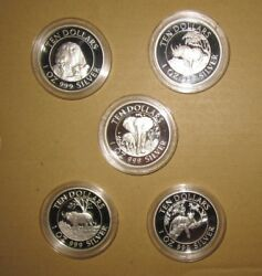 1996 Zimbabwe 10 D Afrika Big Five Proof Silver Coins Set With Coa Rare And Sca