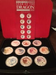 2012 Australia Year Of The Dragon Colorized Silver 10 Pcs Coin Set With Coa And Bo