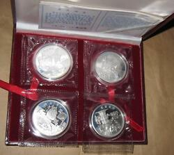 1997 China The Culture Of Yellow River2 4pcs 10 Proof Silver Coins Set