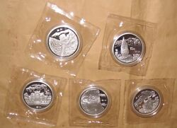 1993 Chinaprc 10 Famous Mountain Bu Silver Coins Set With Coa And Box