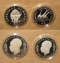 1974 Tanzania 50s Rhinoceros And 25s Giraffes Silver Proof Coins W/ Coa And Wallet