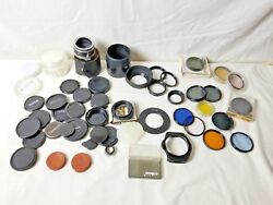 54 Pieces Lot Lens Filters Rings Hoods Caps Converter Cases