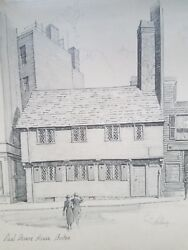 Antique Signed Lithograph By E. E. Anthony. Paul Revere House Boston.