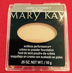 Mary Kay Endless Performance IVORY 3 Creme to Powder & 1 Pack of Sponges NEW!