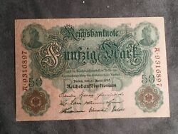 1910 50 Mark Germany Vintage Banknote Currency Paper Money Rare Antique Note