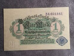 1914 1 Mark Germany Vintage Banknote Currency Paper Money Rare Antique Note
