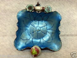 Old Chinese Sky Blue Enamel Cloisonne Metal Silvered Copper Pin Tray Ashtray