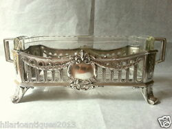 Nice Antique 1900 French Centerpiece Jardiniere And Crystal Flower Dish