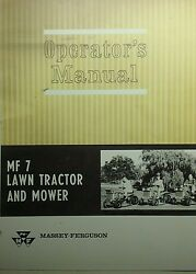 Massey Ferguson Mf 7 Lawn Tractor Owner, Pre-delivery, Implements 4 Manuals96p