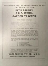 David Bradley Sears 917.57583 Garden Tractor And Plow Owners And Parts 2 Manuals