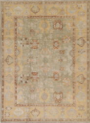 Vegetable Dye Muted Green Oushak Turkish Hand-knotted Oriental Area Rug 9and039x12and039