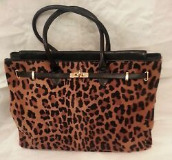 VALENTINO HAND BAG CALF FUR LEATHER ( NAPPA) LEOPARD  HERMES DESIGN