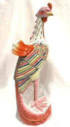 Antique 19 Tall Exotic Pastel Hand Painted Ceramic Chicken Statue