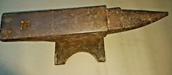 Antique Anvil Blacksmith Primitive Tool Wrought Iron Steel Faced Horn And Flat
